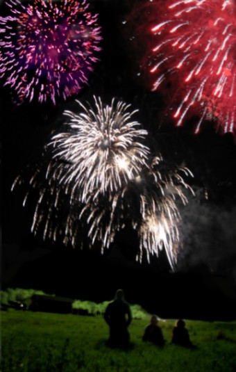 The fireworks display always mesmerizes the kids who look up in awe at the dancing colored lights!
