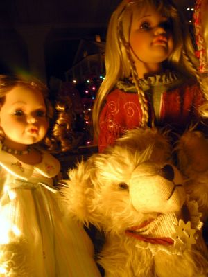 Christmas dolls and Teddy Bears in one of the best dressed window displays in Knowlton.