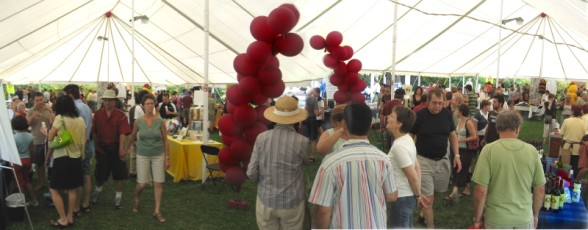 The weather was ideal and the crowds under the big top strolled among the booths offering goodies and samples.