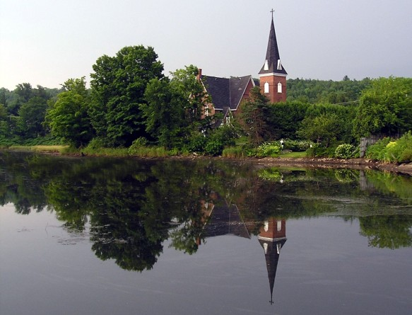The reflections of the Church in the Mill Pond in downtown Knowlton. Another reason why Knowlton has a magical charm worth discovering!