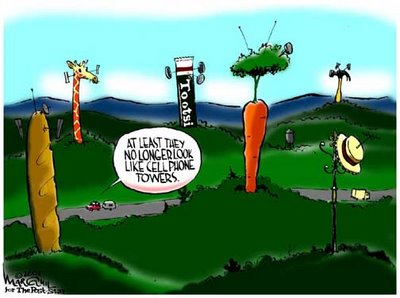 The efforts that are put into hiding the large mobile phone towers are lampooned in this popular independant cartoon. Usage by our website is appreciated.