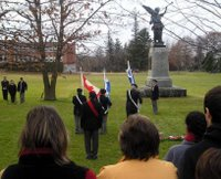 The flags were saluted as we gathered at the memorial to remember our soldiers.