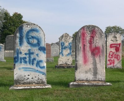 It was with utter sadness that we woke to saw our local graveyard literally destroyed by grafitti. Tombstones over one hundred years old were damaged beyond repair by senseless vandalism this week in Brome.