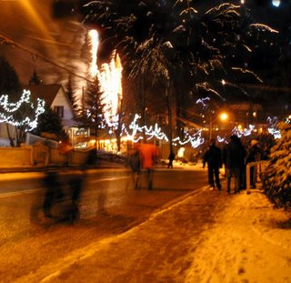 The roads had to be closed off as the snow topped trees hanging over the park covered the hundreds who gathered to watch the first annual winter fireworks display.
