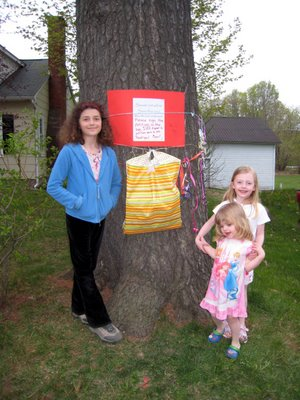 Children in front of the threatened tree on St. Paul Street in Knowlton. The children started a petition to save the tree