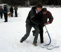 Having fun on a ski sled for two!