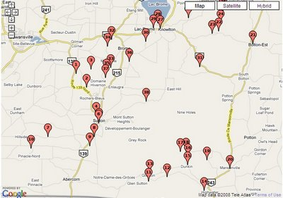 To find the best route to drive the highways of the Eastern Townships click on this map and visit the TourDesArts.com website!
