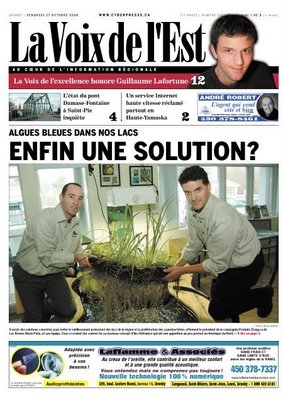 Floating Islands make a front page splash as Produits Etang.ca pushes to the forefront of environmental studies in the Eastern Townships!